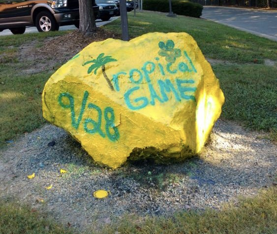 The spirit rock in front of Lafayette High School displays upcoming events, so keep an eye on it during homecoming week!