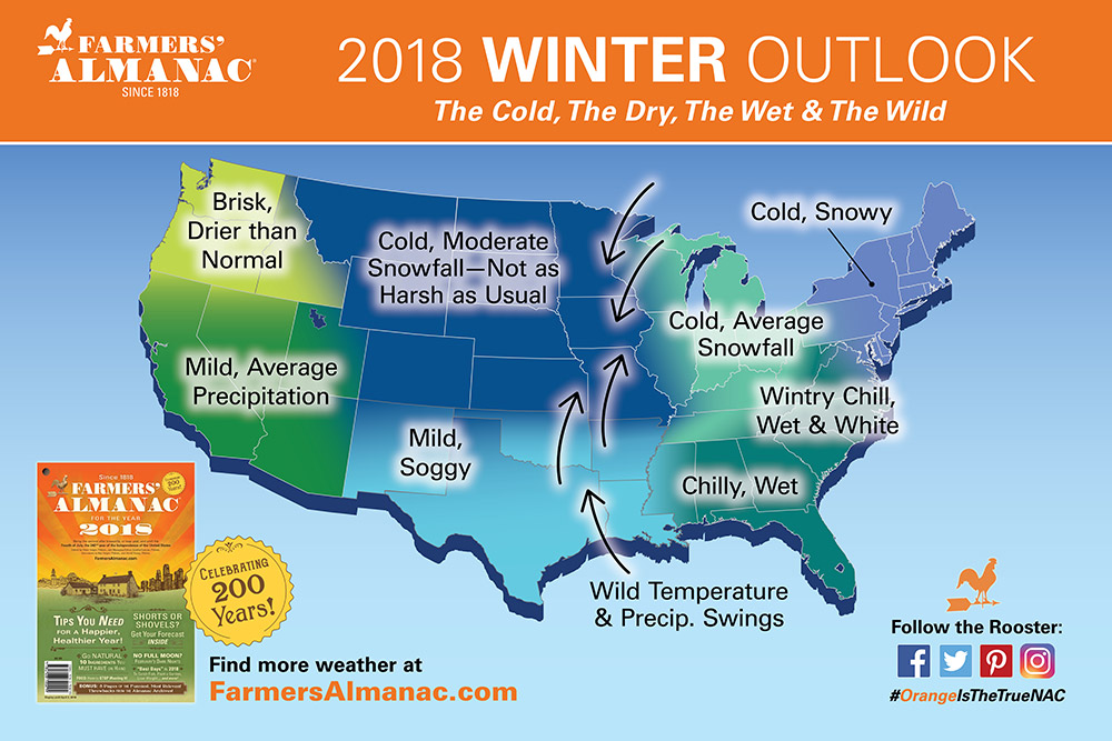 Chilly predictions for the United States upcoming 2017-2018 weather. Photo courtesy of: https://www.farmersalmanac.com/weather-outlook/2018-winter-forecast/