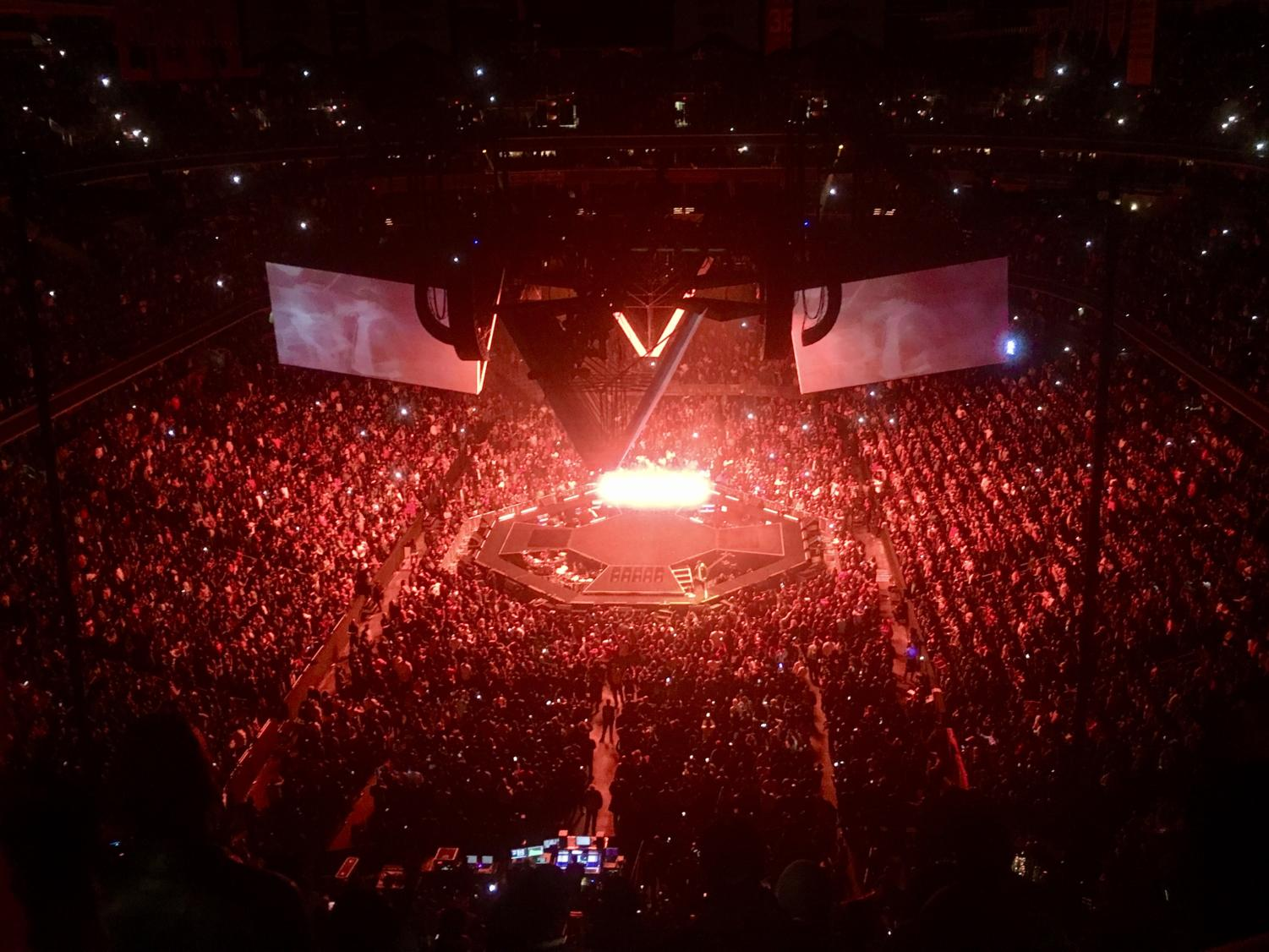 The lights pulse at Jay-Z's Washington D.C. concert on November 29th. The rapper played his classic hits as well as newer, more personal tracks.