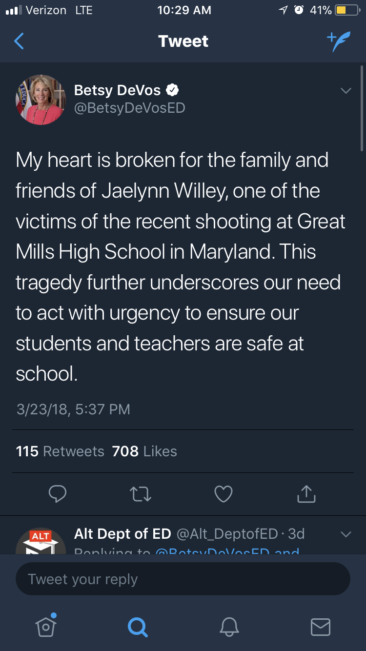 The Secretary of of Education, Betsy DeVos, tweets out her support for the family of the lone victim of the shooting