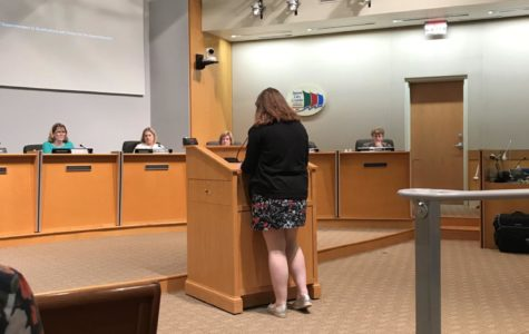 LHS senior Atlee Paterno delivers a speech at February 22nd's School Board Meeting with confidence.