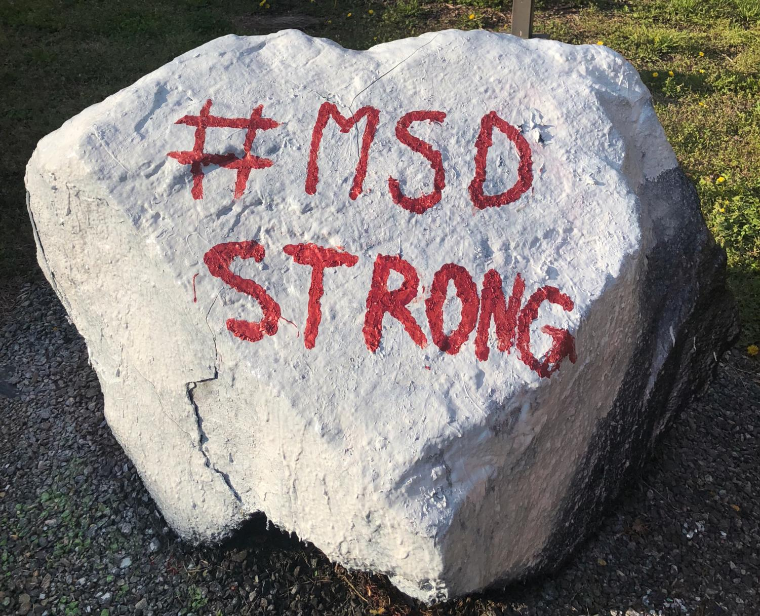 Lafayette's rock bears a message of solidarity after the Parkland shooting.