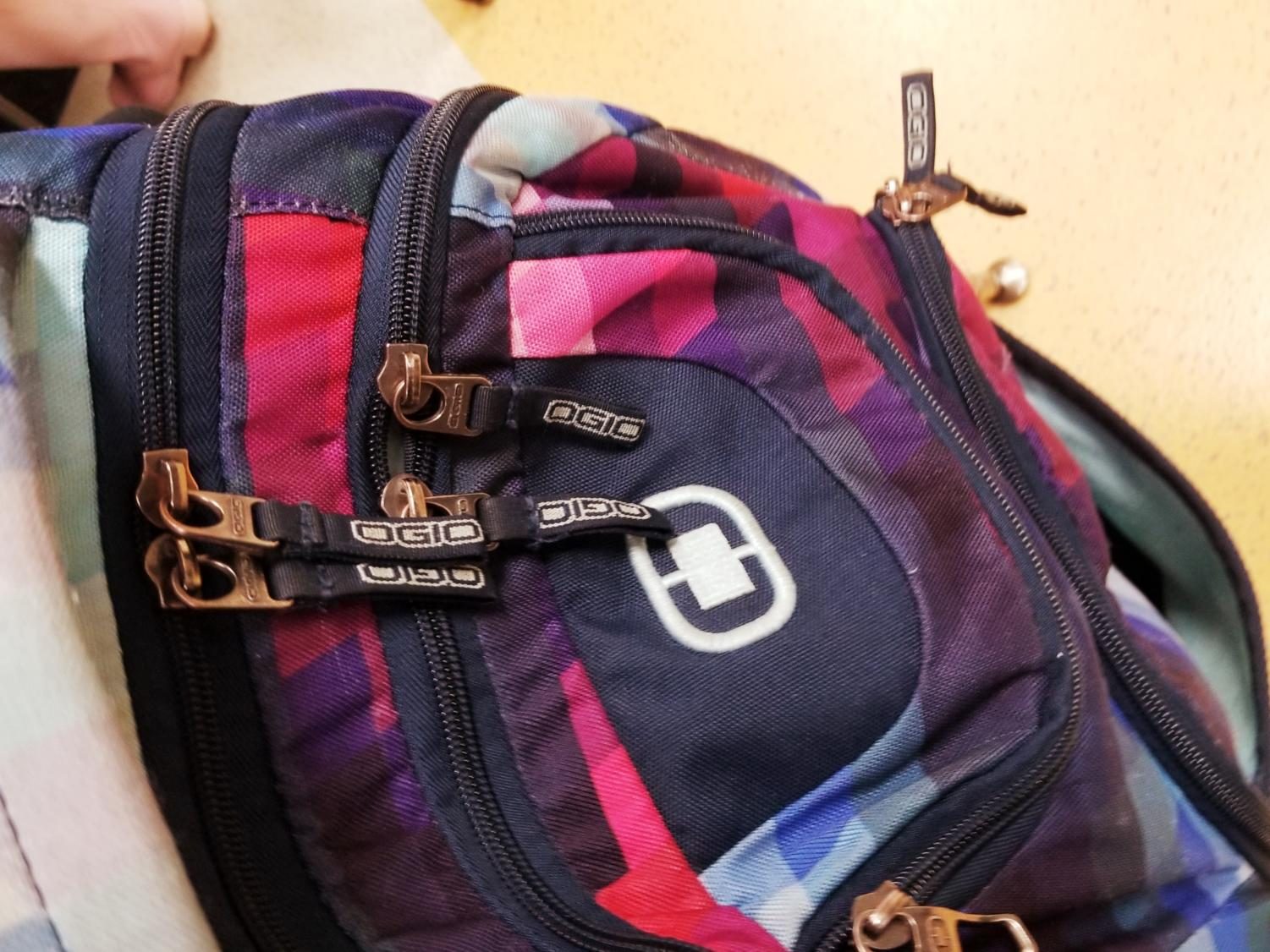 A normal backpack in its school environment.