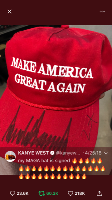 Kanye+showing+his+love+for+the+president+with+his+signed+MAGA+hat.