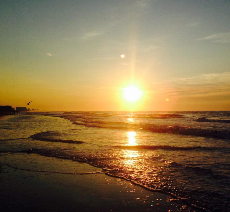 The Jamestown beach sparkles at dusk.