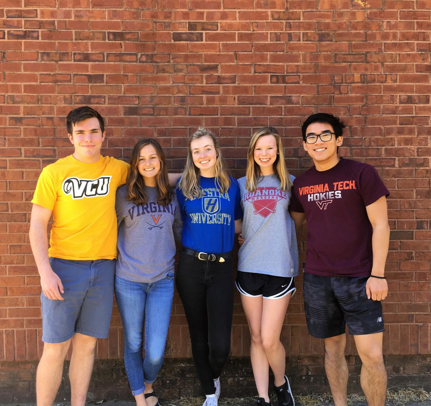 (From left: Ben Dallman, Allie Marcotte, Jessica Poley, Lauren Roth, Keven Nguyen) Five seniors pose for one last picture outside of Lafayette before they go off to college.
