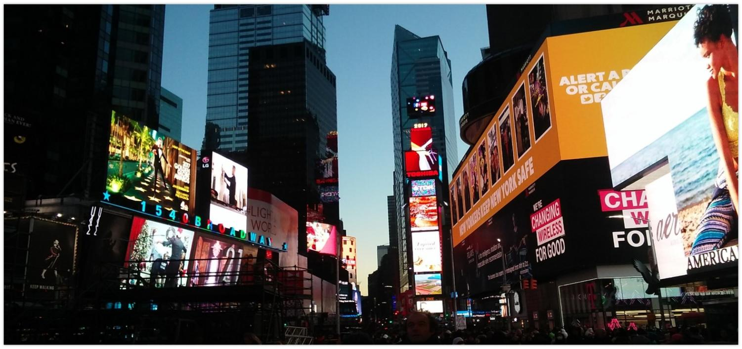Because of the central location in New York City, Times Square has become a center for entertainment in the city. Times Square has become a huge tourist destination and is constantly illuminated by billboards.