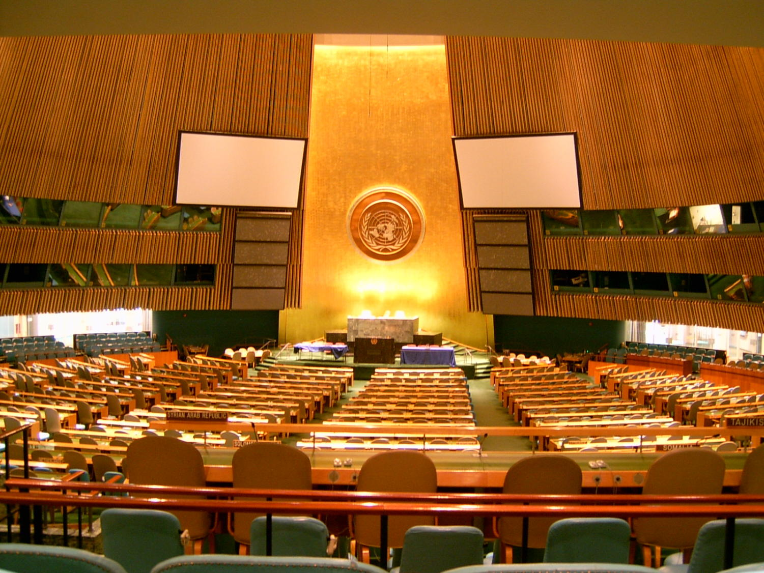 Standing empty, the United Nations serves as a meeting ground for countries to collectively deal with international