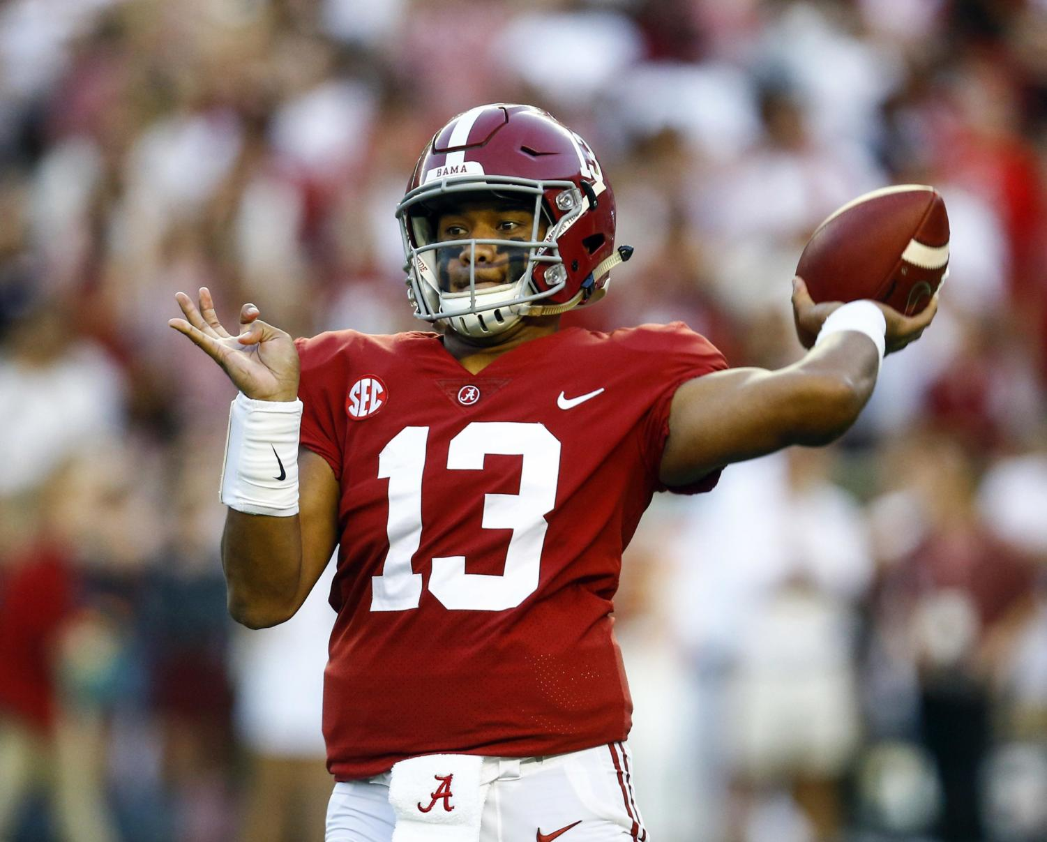 Alabama quarterback Tua Tagovailoa (13) throws a pass during the first half of the team's NCAA college football game against Missouri, Saturday, Oct. 13, 2018, in Tuscaloosa, Ala. (AP Photo/Butch Dill) ORG XMIT: ALBD102