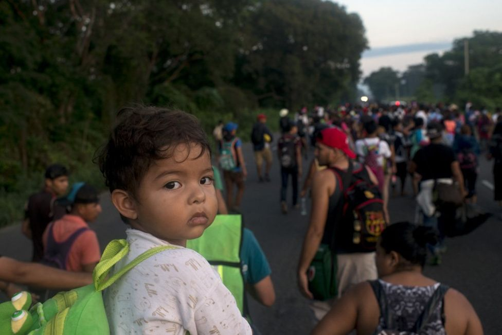 The caravan not only contains people seeking asylum but their children as well.