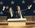 President Reagan and Vice President George H.W. Bush winning 1981 election.