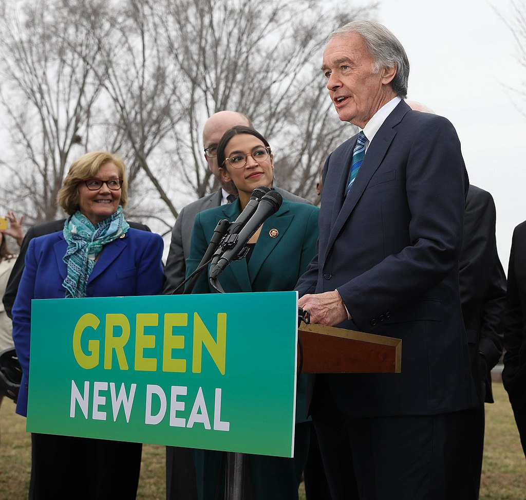 Smiling with determination and motivation, Cortez and a few Senators discuss the Green New deal and it's big hopes of success.