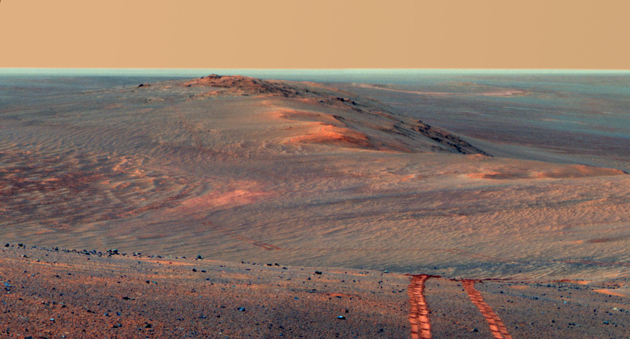 Personally one of the best pictures by Opportunity, it displays the path that it has already left it's marks on.