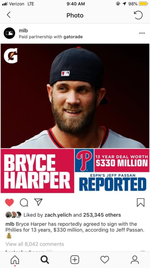 Free+Agent+Bryce+HArper+has+reportedly+agreed+to+a+deal+with+the+Philadelphia+Phillies+for+330+million+dollars.