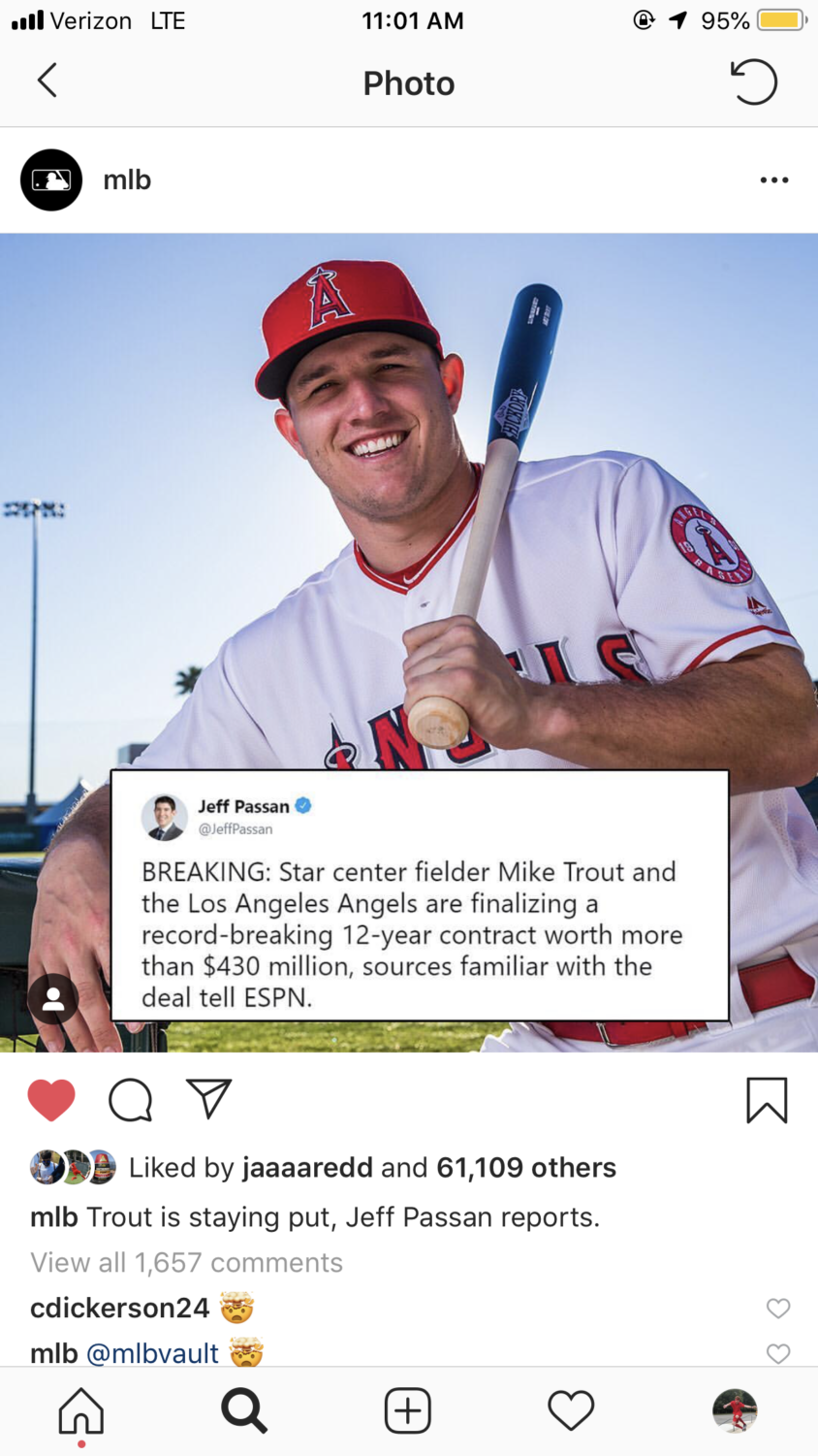 Mike Trout has reportedly agreed to a 12 430 million dollar extension with LA.