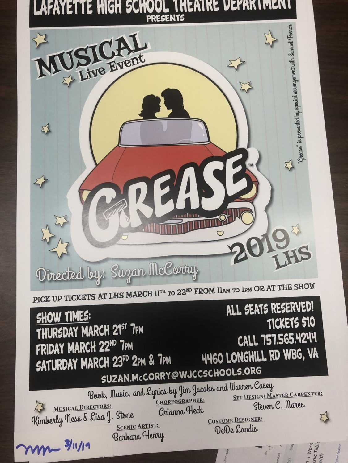The LHS musical will be performed on March 21st and 22nd and 7pm and March 23rd at 2pm and 7pm.