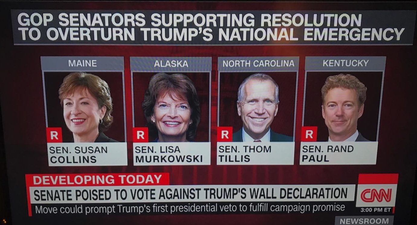 These four Republican senators plan on voting against Trump's national emergency in the week leading up to Congress' vacation.