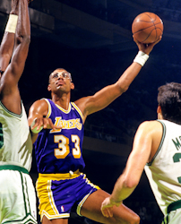 Kareem Abdul-Jabbar (#33) shoots his famous sky hook, as the Lakers take on the Celtics.