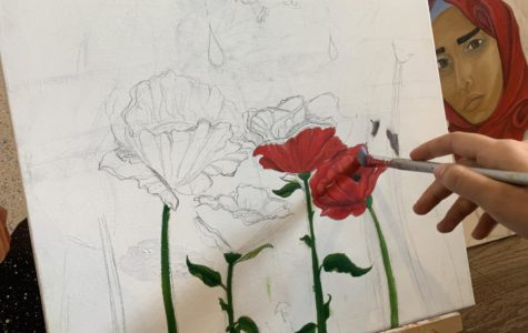 Morgan dreams of being an artist one day. She found inspiration in a rose bush for her upcoming art project.
