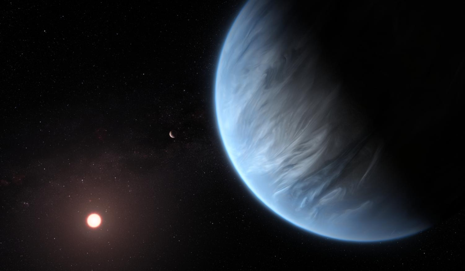 An Artist impression of what K2-18 looks like against the cold blackness of space: