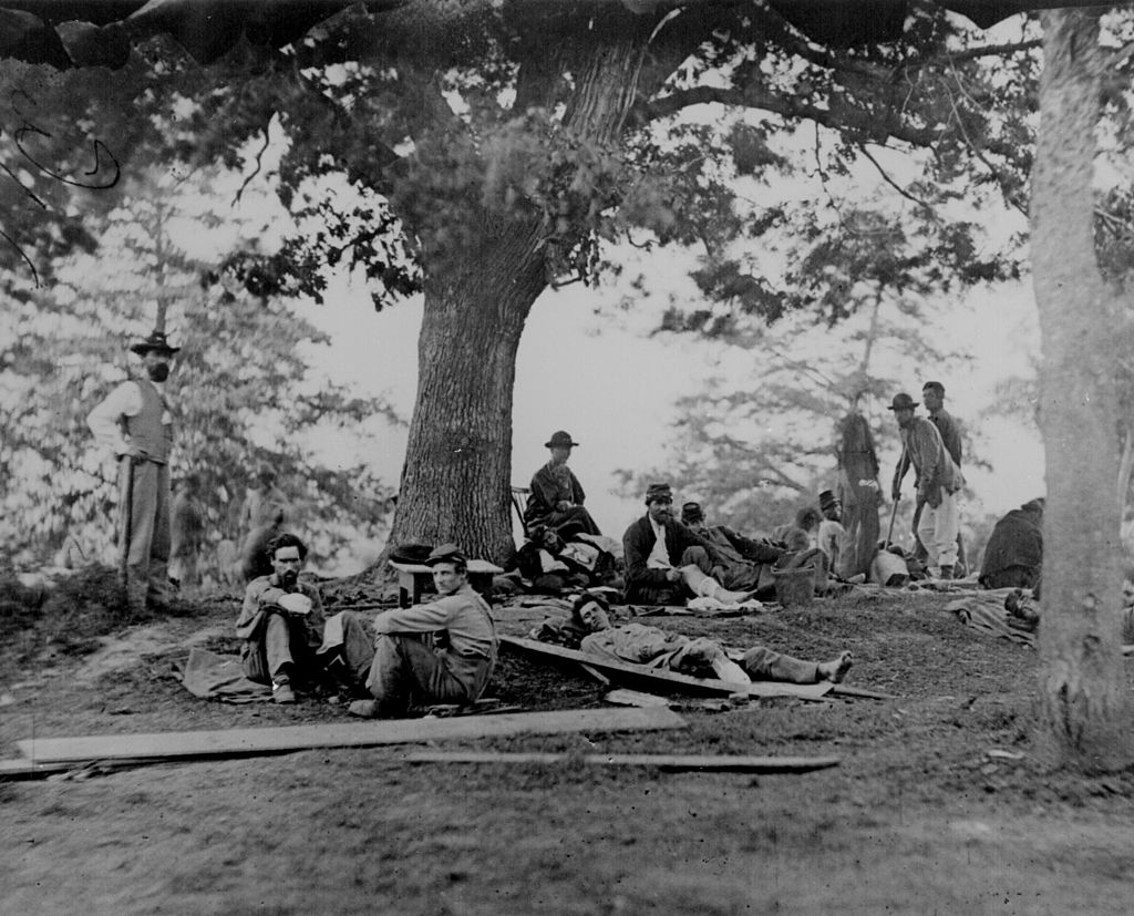 Original Photo of Union and Confederate soldiers at a field hospital