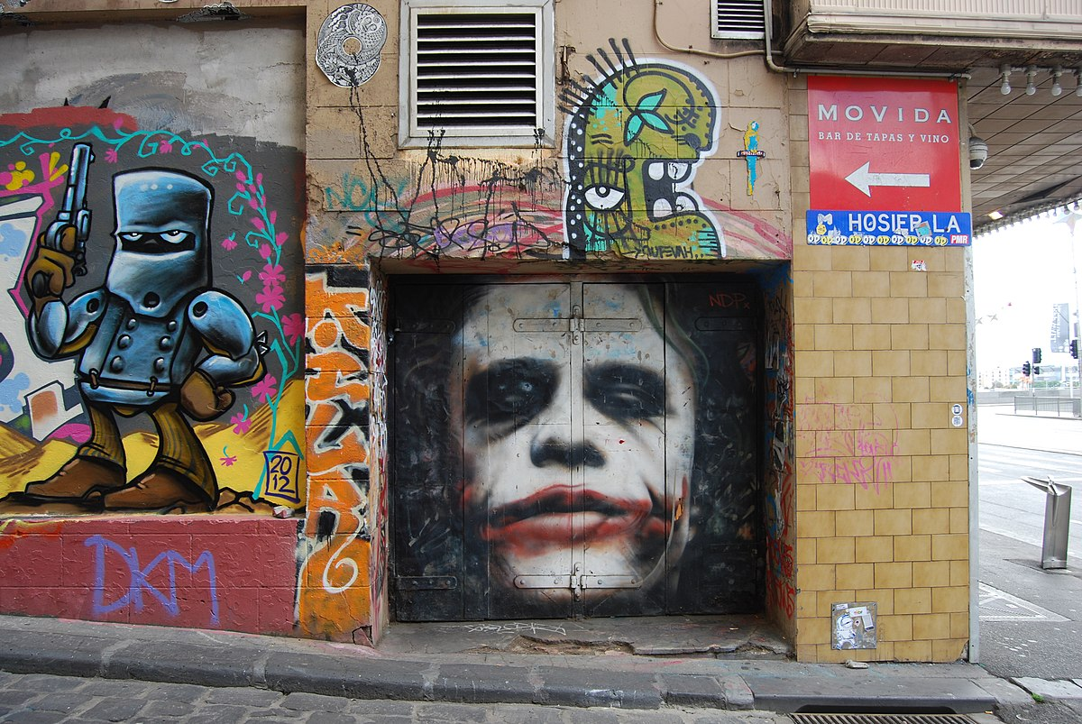 The late Heath Ledger, leaving a impact on the fanbase of the DC universe, inspiring them  to make street art.