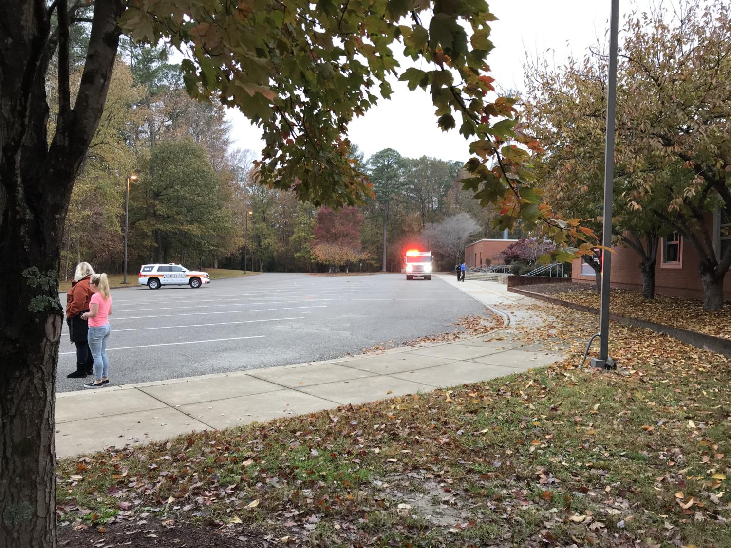 Emergency vehicles arrived on the scene quickly, taking over the bus loop and forcing students and faculty to move to the track while the kiln and art room were investigated by officials.