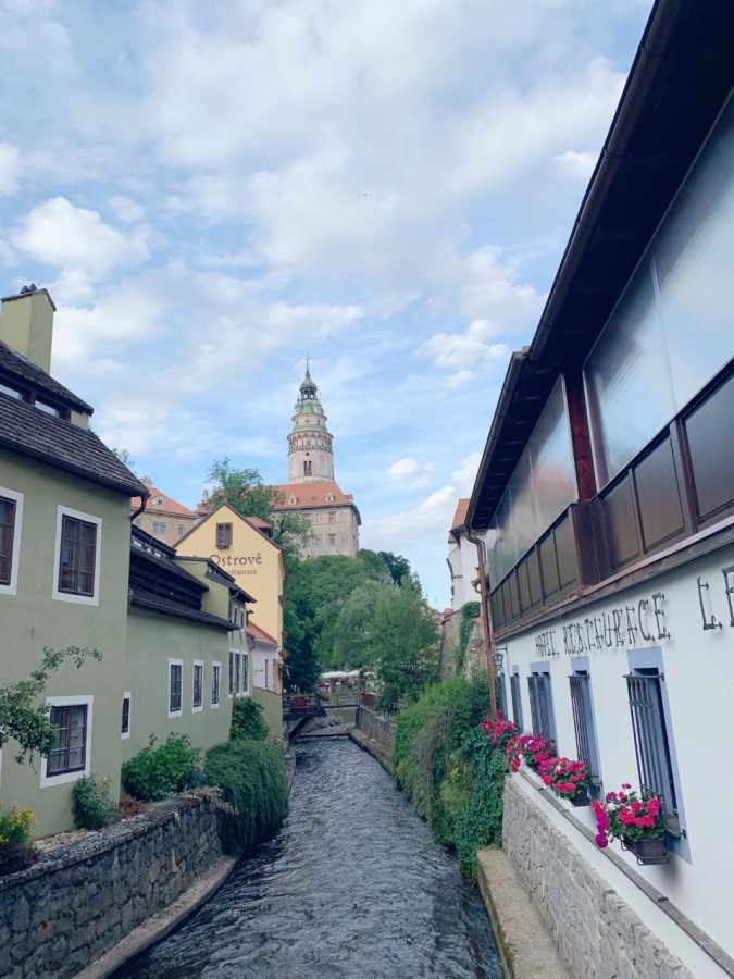 Charming canals are often part of each towns backdrop. A large river and mote runs around the historic center of Cesky Krumlov, Czech Republic. Residents take pride by planting many flower boxes for all to enjoy.