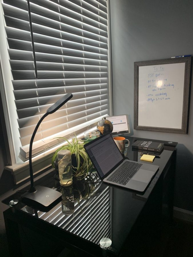 While leaning on my bed in my pajamas, I am able to take a picture of my entire work space for the next five hours. Behind my dry erase board, I can hear my sister's ongoing zoom call.