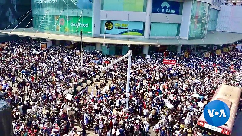 In Yangon, the capital city of Myanmar, thousands of protesters gather to participate in anti-military rally.