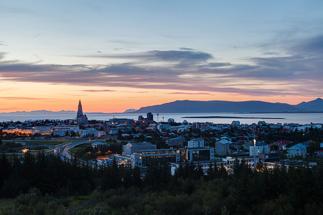 Overlooking Reykjavik, the capital of Iceland.