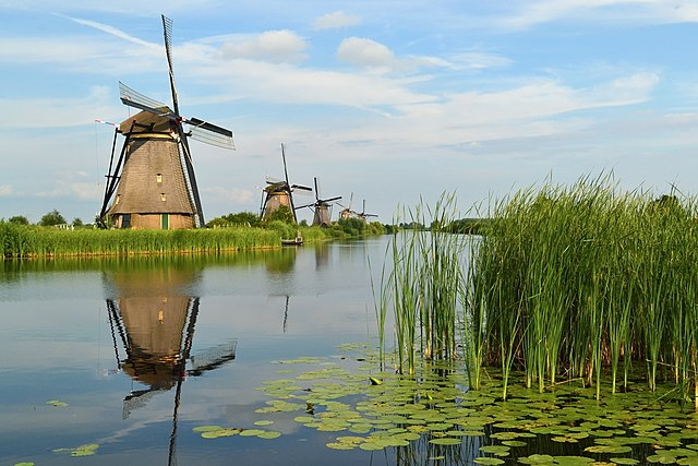 A significant characteristic in the Netherlands are windmills. Nature plays a huge role in Dutch culture. The landscapes seem phenomenal. In this picture, there is a huge windmill sitting on a marsh.