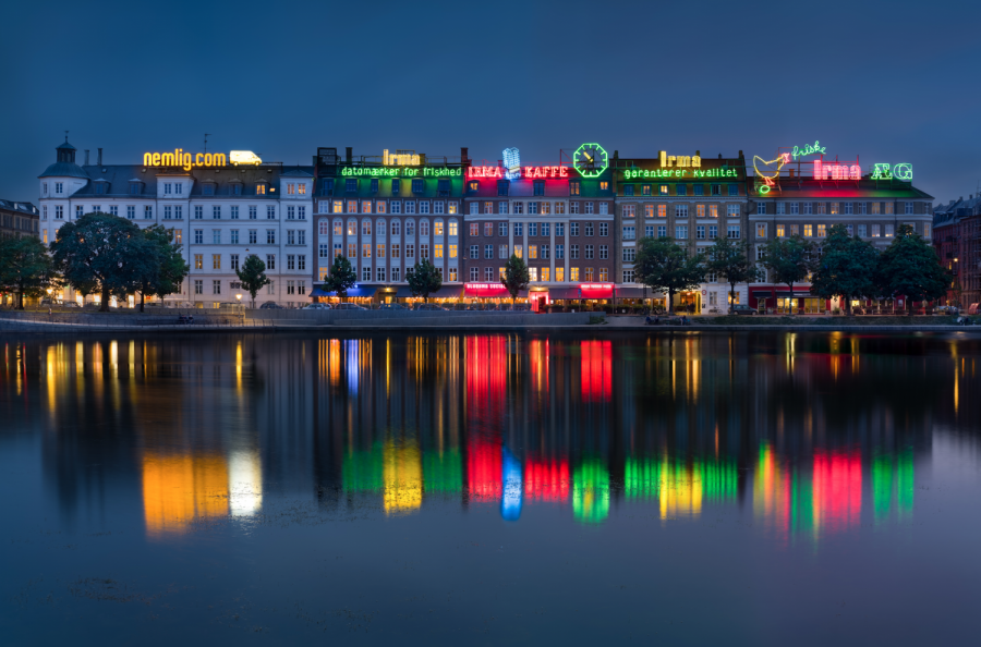Taken in front of the iconic neon lights over the lakes (søerne) in Copenhagen, Denmark